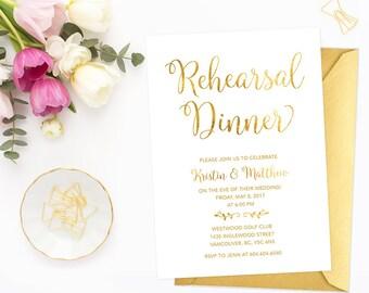 Gold Rehearsal Dinner Invitation, White Gold Rehearsal Dinner Invitation, Printable Rehearsal Dinner Invite, Faux Gold Foil Invitation