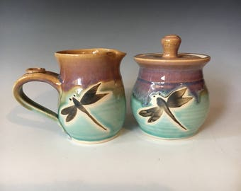 Pottery Cream and Sugar Set, Dragonfly Sugar Bowl and Cream Pitcher Breakfast Set, Handmade Pottery