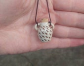 White Mini Essential Oil Bottle Necklace with Cork