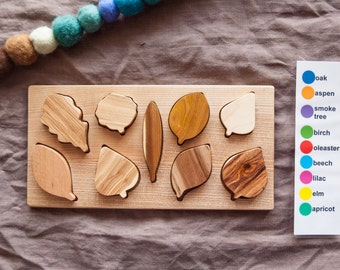 Wooden Leaf Puzzle / Montessori Toy /Organic Toy/ Educational Toy/ Toddler Development Wood Toy/ Natural Wood Baby Toy