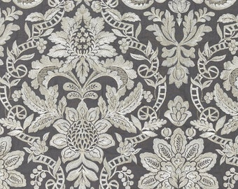 SCALAMANDRE ELIZABETH DAMASK Embroidered Linen Fabric 10 Yards Charcoal Taupe Creams