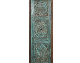 Tall Sunburst Cabinet, Tall Cabinet, Wood Cabinet, Vintage Cabinet, Indian Decor, Narrow Cabinet, Clothing Cabinet