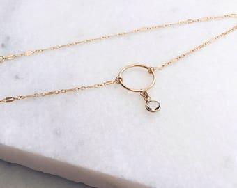 Swarovski Pendant, 14 KT Gold Filled, Delicate Necklace, Hoop Necklace, Layered Necklace, Boho Necklace, Swarovski Necklace