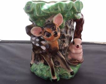 Vintage Disney Bambi and Thumper Ceramic Vase