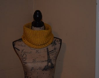 Loom Knit Gold Cowl Handmade Neck Warmer Scarf Warm