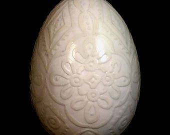 Etched Goose Egg Pysanka, White on White