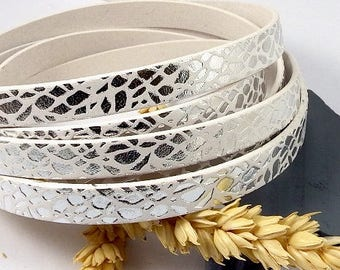 leather flat 10mm white leaves money by 1metre