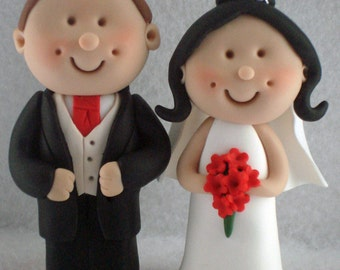 Bride and Groom Wedding Cake Topper with top hat, Bride And Groom, Novelty Topper, Handmade Mini Topper