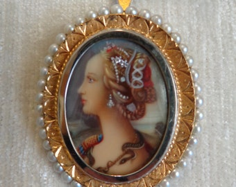 18k Victorian Portrait miniature cameo Brooch,  hand painted, 3 diamonds, pearls, gold