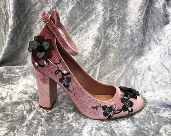 Embroidered Applique Shoes. Dusky Pink Velveteen. Limited Edition. UK 6, 7