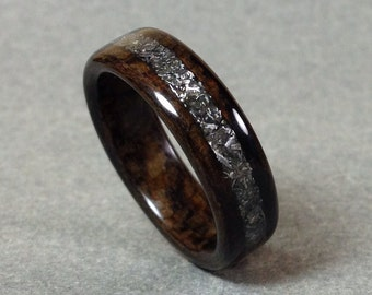 Bentwood Ring, Meteorite Inlay, Ziricote