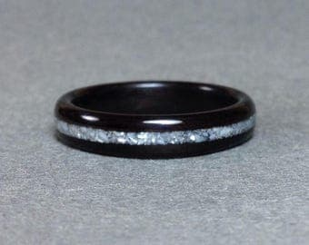 Ebony Bentwood Ring with Pearl Inlay