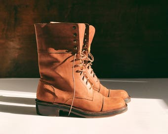 90's Lace Up Boots Made in FRANCE size 7 / Vintage Leather Boots / Ankle Boots / Vintage Work Boots / Vintage Tan Boots / Hiking Boots