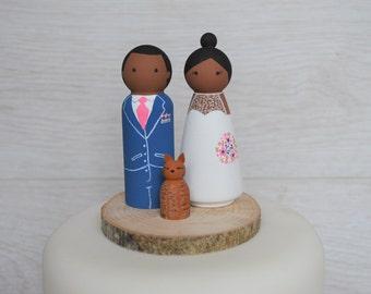 Bride, Groom & Pet Cake Toppers - Personalised Wedding Cake Toppers - Peg Doll Cake Toppers - Cat Cake Topper
