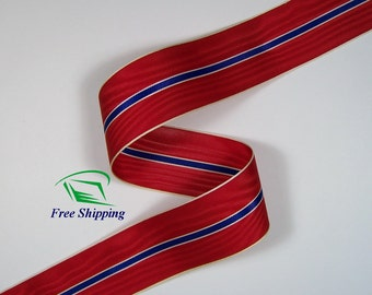 "1.5"" (38mm) Red, Blue, White Moire Stripe Grosgrain Ribbon 1069 (BTY)"