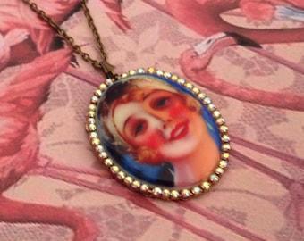 Necklace sautoir cameo vintage sixties pinup woman face