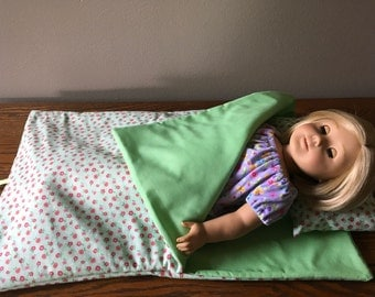 "18"" doll sleeping bag and pillow. Green with sweet pink flowers doll sleeping bag and pillow."