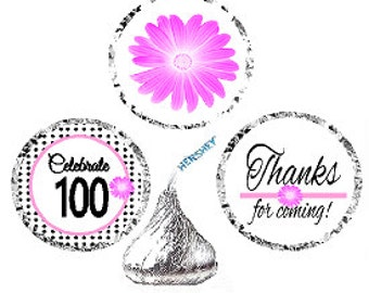 100th Birthday / Anniversary Pink Black Polka Dot Party Favor Hershey Kisses Candy Stickers / Labels -216ct
