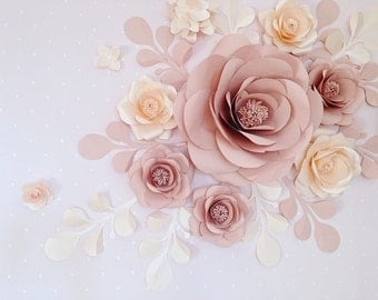 Paper Flower Collage over crib - Nursery Wall Paper Flower set - Chic Boho Nursery Paper Flowers (code:108)