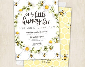 Hunny Bee - Birthday - Honey Bee - Bees - Honey Birthday Party - First Birthday - Bumble Bee - Invitation - Digital/Printable File