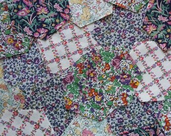50 Vintage Liberty of London Tana Lawn Fabric Hexagons ~Patchwork