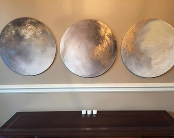 "Round Gold Leaf Moon Series - 20"" Mixed Media Paintings - ""Many Moons Ago"""