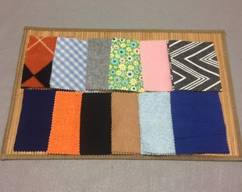 Multicolored fabric matching and sorting activity