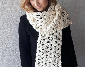 Scarf wool winter, Shawl winter, Chunky scarf,  Winter white scarf, Scarf warm, Crochet scarf, Crochet shawl, Gift for her