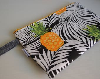 Pineapple wet bag, zippered bag, travel pouch, toiletry bag, nappy bag