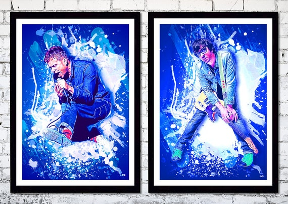 Limited Edition Damon Albarn / Graham Coxon // Blur // Paint Splatter Effect // 2 unique A4 / A3 Art Prints