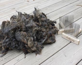 Raw Wool - Dark Brown/Gray Romney Fleece - Crimp, Lovely Handle! Small Farm Sourced! Spinning Crafting Felting