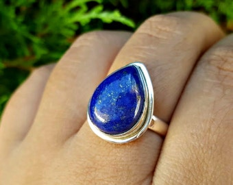 Lapis Lazuli Ring - Pear Ring - Solitaire Ring -Lapis Jewelry - Sterling Silver Ring - Teardrop Ring -  Blue Stone Ring