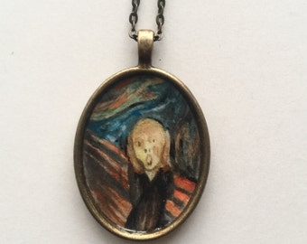 "Hand painted art pendant The Scream, Edvard Munch, mini artwork on antique gold tone pendant with 18""chain jewelry"
