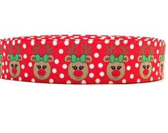 Christmas Ribbon, Christmas Grosgrain, Reindeer Ribbon, Reindeer Grosgrain, Rudolph Ribbon, Rudolph Grosgrain, Holiday Ribbon