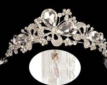 Wedding Tiara Rhinestone Crown,Bridal Headpiece,Tiara Ribbon tie Headband-WH10R126