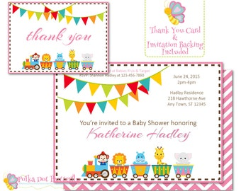 Circus Baby Shower Invitation, Circus Invitation,  Circus Animal Baby Shower Invitation, Its a Girl, Circus Thank You Card, Baby Thank You
