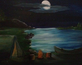 Campfire tent canoe with full moon over mountains and water oil on wrapped canvas 16 x 20