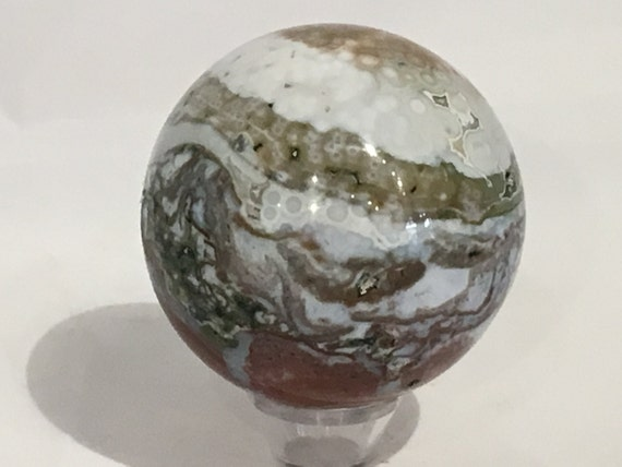OCEAN JASPER Sphere// Jasper Sphere// Crystal Sphere// Healing Gemstone// Crystal Ball// Home Decor// Healing Tools// From Madagascar