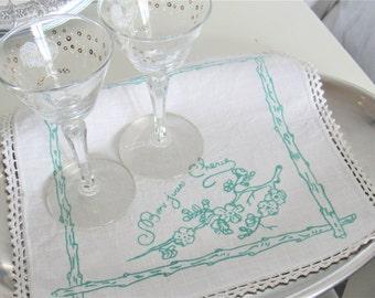 Vintage Linen Doily French Bonjour Cherie