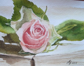 "Original watercolor paintings, Rosebud on the book,  Handmade 6""x 8"" (15x20 cm), flowers, painting, picture"