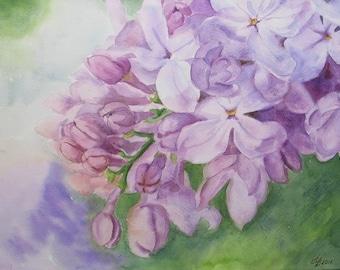 "Blooming lilac. Spring. Original Painting Watercolor Handmade 12 ""x16"" Painting art, flowers"