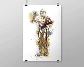 Printable C-3PO Star Wars Watercolor Ink Art Digital Portrait Poster Instant Digital Download A4 A3