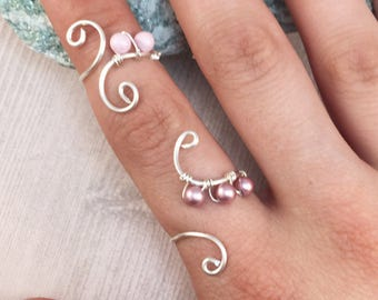 Full Finger Ring, Knuckle ring, Midi ring, Sterling Silver Jewelry, Silver Ring, Adjustable Ring, Midi Rings, Silver Jewelry, Double Rings