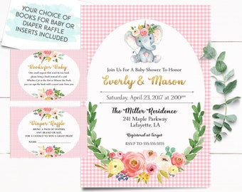 Elephant Baby Shower Invitation, Girl Baby Shower Invitation, Gingham Baby Shower Invitation, Jungle Baby Shower Invitation, Baby Shower
