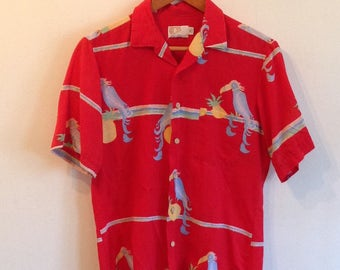 Vintage Parrot Shirt Hawaiian Style made by CALDOR