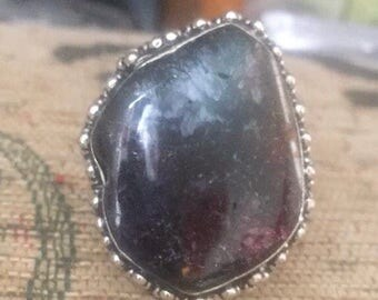 Agate black and purple sparkly large silver ring size s
