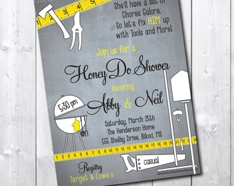 Honey Do Shower Invitation printable/tools, garden, gadget, handyman, couples, chalkboard/wording can be changed/digital file