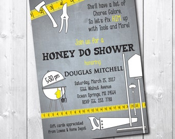 HONEY DO Shower Invitation printable/digital, tool shower invitation, tool and gadgets, handyman, tool and garden/Wording can be changed