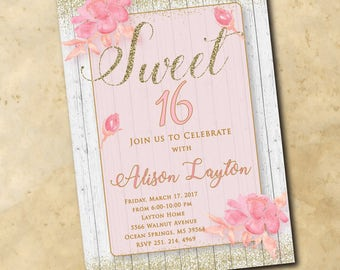 Sweet Sixteen Birthday Invitation/DIGITAL FILE/printable/wording can be changed