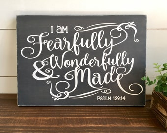 Fearfully and Wonderfully Made Wood Sign, Psalm 139:14, Nursery Decor, Bible Verse, Christian Wall Art, Farmhouse Decor, Adoption, Kids Room